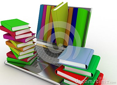 Books from your laptop on a white