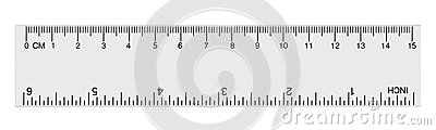 White transparent ruler, isolated inch and centimetre, inches