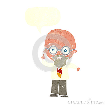 cartoon professor with speech bubble