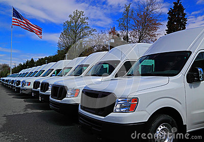 stock image of commercial vans