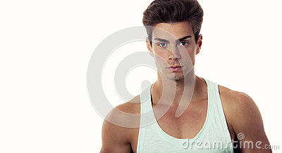 Model man stylish hair in undershirt, beautiful body
