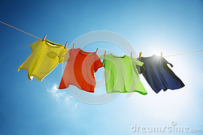 Clothesline and laundry