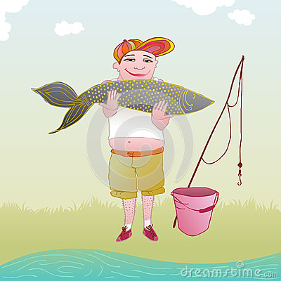 Fisherman holding a very big fish