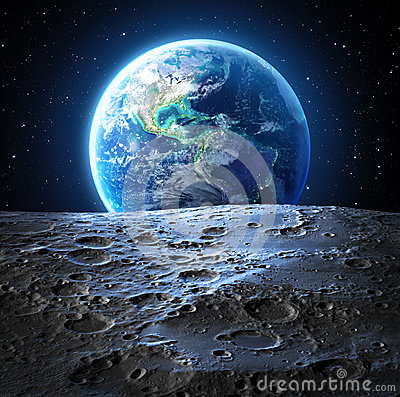 Blue earth view from moon surface