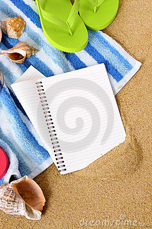 Beach travel background writing book diary copy space vertical