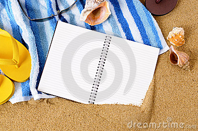 Beach travel background writing book copy space