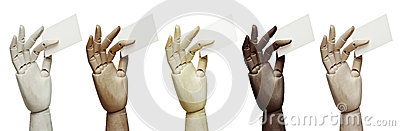 Set of wood hands of different colors holding business cards
