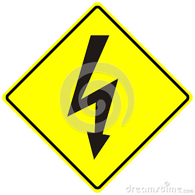 Electrical hazard high voltage sign isolated macro