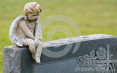 Boy angel on headstone