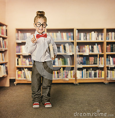 School Kid in Library, Child in Glasses, Girl  with Book