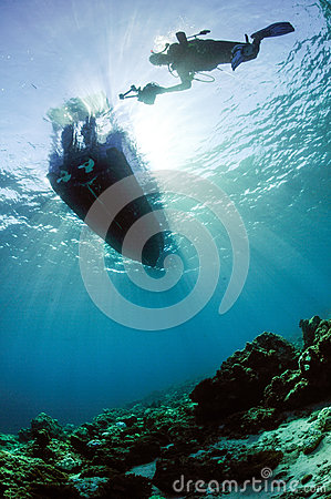 Scuba diving diver sunshine kapoposang sulawesi indonesia underwater