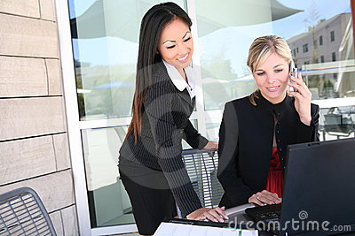 Attractive Business Woman Team on Computer
