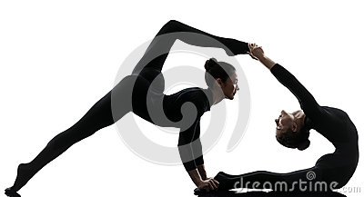 stock image of two women contortionist exercising gymnastic yoga