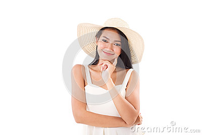 Smiling summer lady looking at you, white background