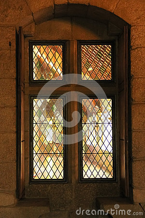 Window embrasure. Palace of the Duques of Braganca. Guimaraes. Portugal