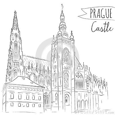 Hand Drawn Illustration Of Prague Castle Czech