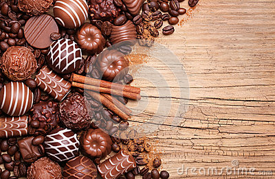 Collection of Belgian truffles. Chocolate candies