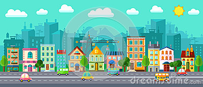 City Street in a Flat Design