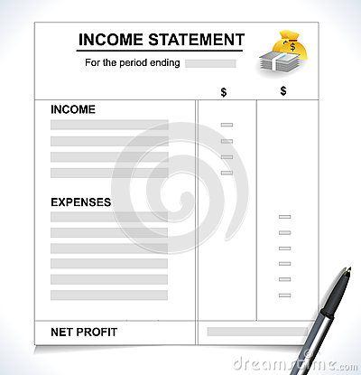 Income Statement, Tax return concept with pen and money icons