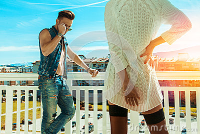 Horizontal photo of sexy fashionable man and seduce woman backsi
