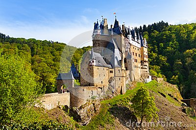 Eltz castle gates and fortification side view