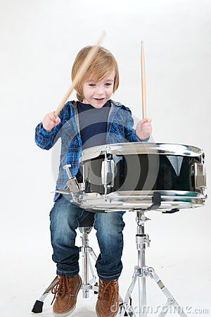 Happy boy with drum