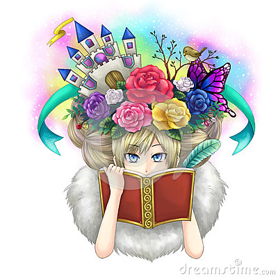 Illustration of a girl writing fantasy novel book while her imag