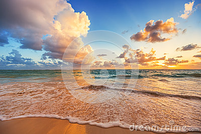 Beautiful cloudscape over Caribbean sea, sunrise shot