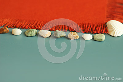 Orange texture, sea shells, sea stones, summer background, your message here