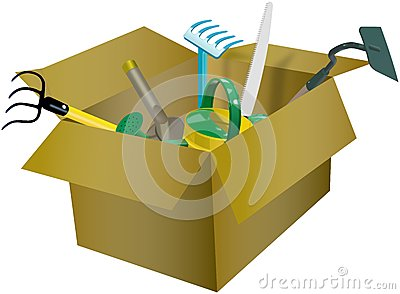 Set of garden tools in the cardboard box