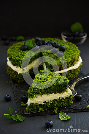 Beautiful green cake with spinach