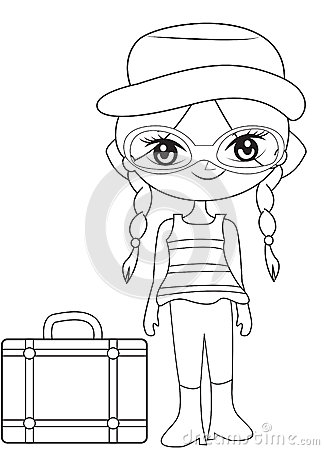 Girl On A Travel Coloring Page