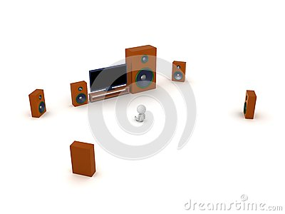 3D Character with HDTV and Surround Sound Speakers