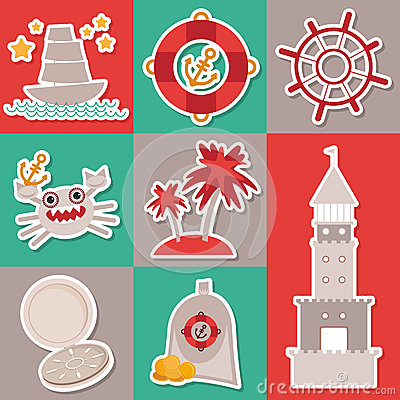 Sticker set Vintage nautical card and seamless pattern with sea animals, boats, lighthouse. cute sea objects collection. Vector