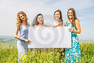 Women with advertising board