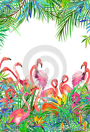 Tropical exotic bird, leaves and flowers.