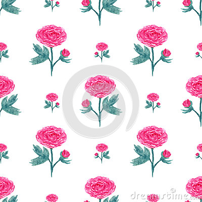 Seamless pattern with watercolor peony. Vector illustration with pink flowers. Floral background for web page, wedding invitations