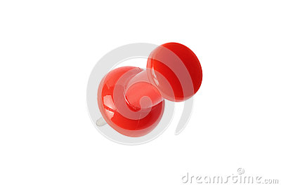 Isolated top view of red drawing pin with path