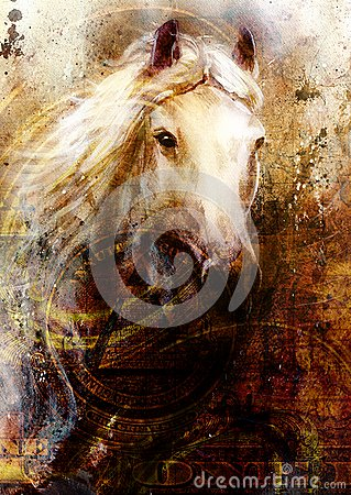 Horse heads, abstract ocre background, with one dollar collage. texture background