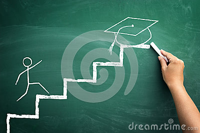Student on steps, illustrated presentation to arrive at the grad