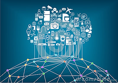 Smart home and internet of things concept. Cloud computing to connect global wireless devices with each other.