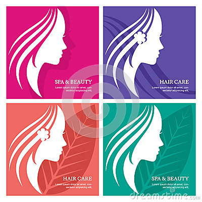 Set of vector abstract background with beautiful woman face silh