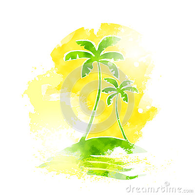 Palm Tree Tropical Island Water Grunge Color
