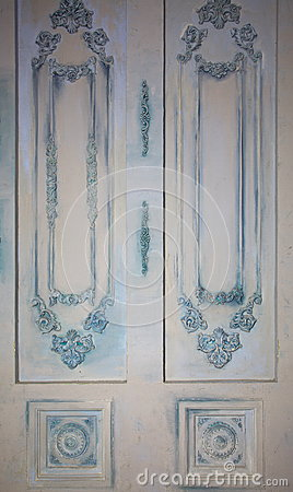 Photo of decorative wall panels with various types of ornaments in the form of decorative frames and sockets imitation vintage.