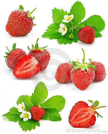 Collection of red strawberry fruits isolated