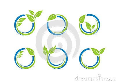 stock image of circle leaves ecology logo, plant water sphere set of round icon symbol vector design