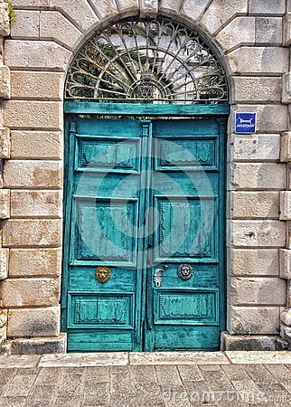 Rugged turquoise doors