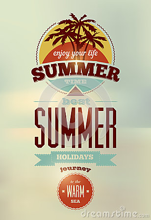 Summer time retro poster. Vector typographical design with blurry background. Eps 10.