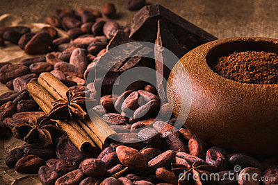 Raw cocoa beans, Delicious black chocolate, cinnamon sticks, sta