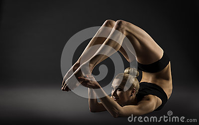 Back Bend Stretching Posture, Bending Woman Acrobat Gymnastics